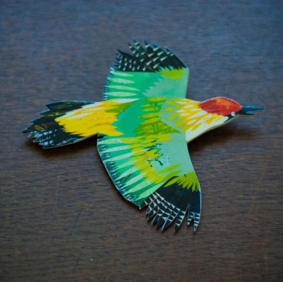 35% off BROOCH SALE: Green Woodpecker