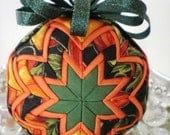 Quilted Ornament - Christmas - Orange Halloween Pumpkins