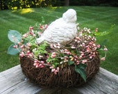 SALE 20 PERCENT OFF Shabby Birds Nest with Berries and Greens