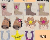 Cowboy Embroidery Design Set