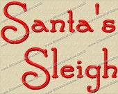 Santa's Sleigh Embroidery Fonts 3 Sizes