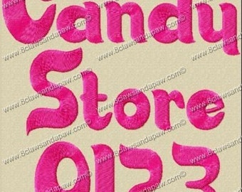 Candy Store Embroidery Font 3 Sizes
