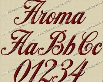 Aroma Embroidery Font 3 Sizes