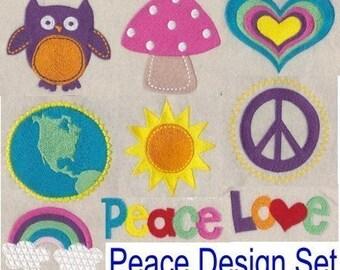 Retro Peace Embroidery Design Set