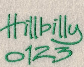 Hillbilly Embroidery Fonts in 3 Sizes