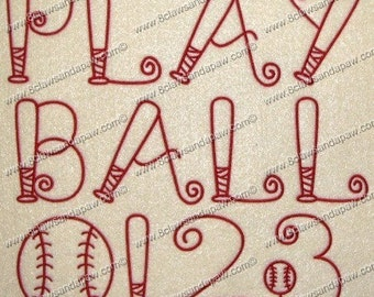 Play Ball Font 3 Sizes Alphabet Embroidery Design