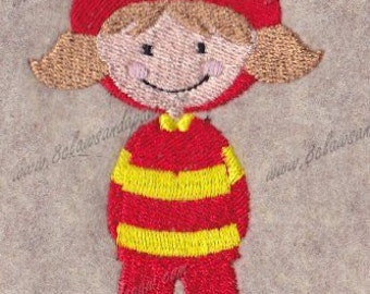 Girl Fireman Embroidery Design