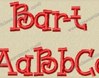 Bart Machine Embroidery Font 3 Szes
