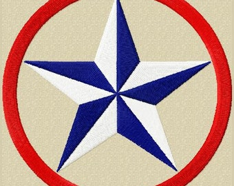 Star of Texas Machine Embroidery Design