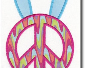 Applique Bunny Peace Sign Embroidery Design-Multiple Sizes