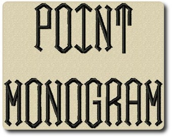 Point Monogram Embroidery Font in 3 Sizes
