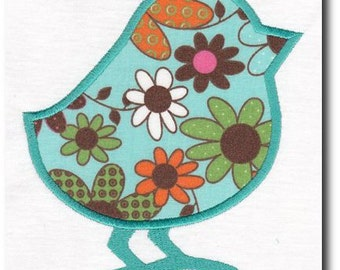 Applique Silhouette Easter Chick Embroidery Design Includes Multiple Sizes