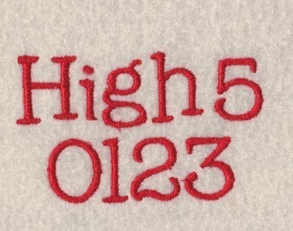 High 5 Embroidery Font 3 Sizes