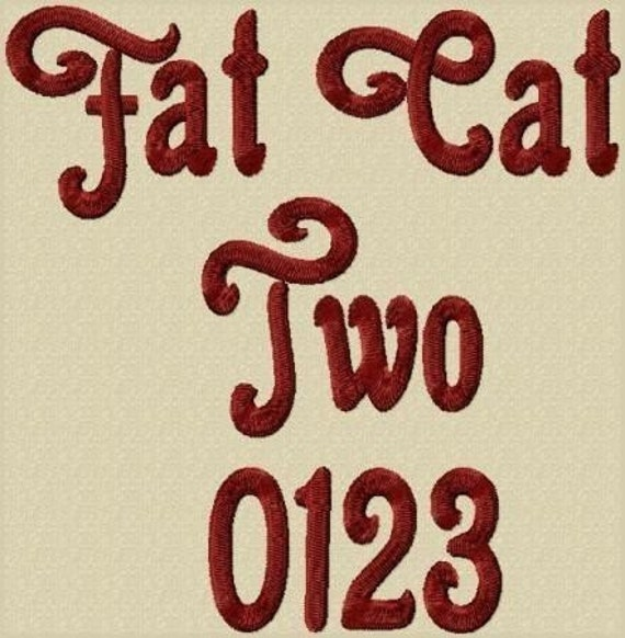 Fat Cat 2 Embroidery Font