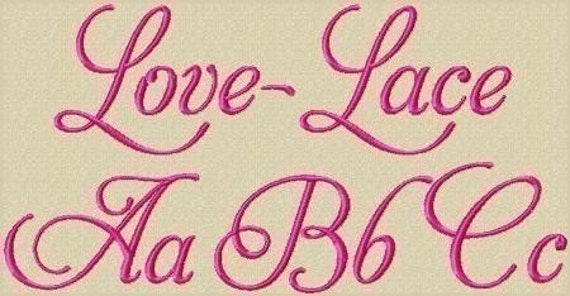 Love Lace Machine Embroidery Font in 3 Sizes