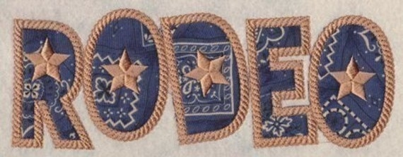 Rope Applique Embroidery Fonts 3 Sizes