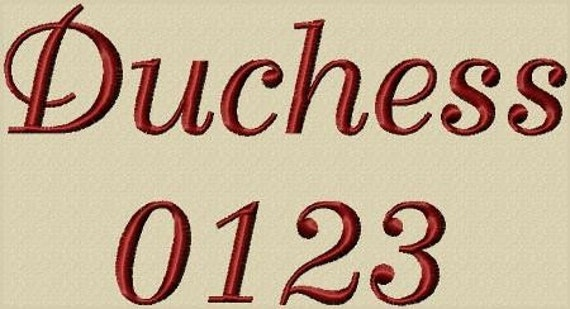 Duchess Font 3 Sizes Alphabet Embroidery Design