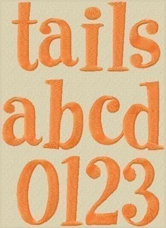 Tails Embroidery Font comes in 3 Sizes