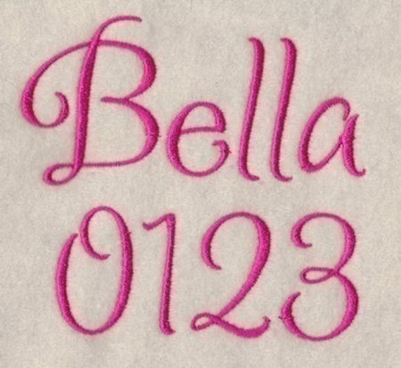 Bella Embroidery Fonts 3 Sizes