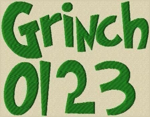 Grinched Embroidery Font in 3 Sizes