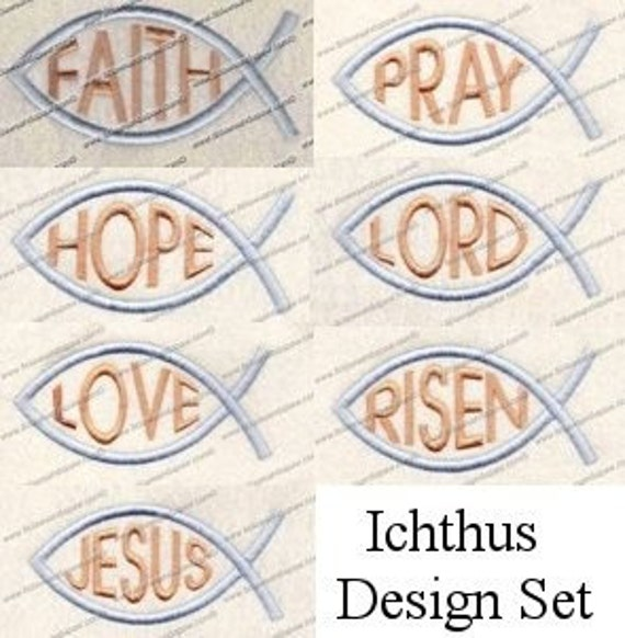 Ichthus Embroidery Design Set