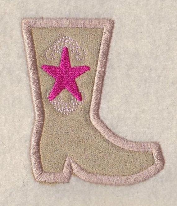 Cowgirl Boot Applique Design