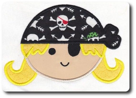 Applique Pirate Girl Embroidery Design-Includes 3 Sizes
