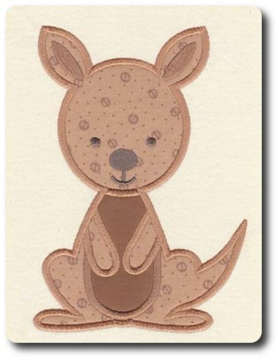 Applique Kangaroo Machine Embroidery Design Includes 3 Sizes