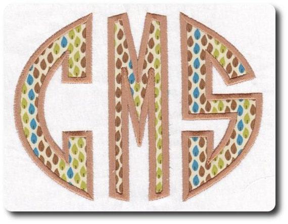 Applique Circle Monogram Alphabet Embroidery Design- Includes 3 Sizes