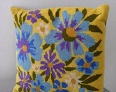 Vintage Needlepoint Flower Pillow