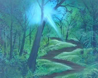 Forest Sunlight Oil Painting on Canvas Alba Ranch Medium Unframed Wood Walk