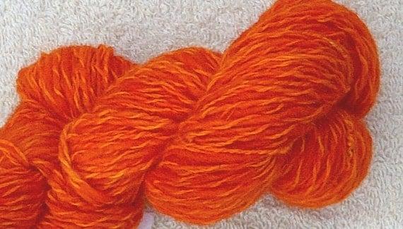Handspun Art Yarn, Sunset Orange, Cheviot and Angora, Hand Dyed