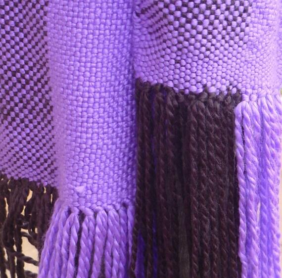 Purple and Black Block Weave Hand Woven Scarf, Soft Bulky Yarn