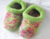 Felted Slippers Hand Knit  in Green for baby or infant