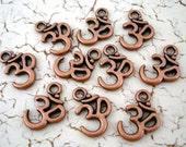 Copper Om Charms 10 Symbol Antiqued