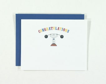 SALE : Congratulations card with circus strong man
