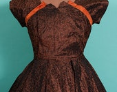 SALE 1950s Couture Petal Bust New Look Dress, Full Skirt, Copper Brown and Pumpkin, Holiday, 34-27-Free