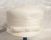 RESERVED for Silvana - 1950's White Hat with Veil, Jackie O, Mod Wedding