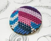 Pendleton inspired native shield (pink, magenta, lilac, purple, turquoise, white, blue)