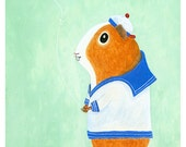 "Guinea Pig Flying Kite 5""x7"" Print"