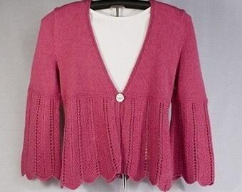 Lace Bell Bottom Sweater Knitting Pattern - PDF