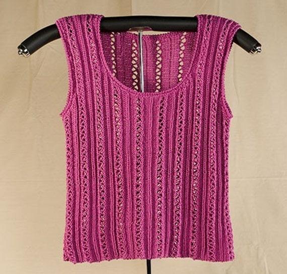 Lace and Rib Tank Knitting Pattern - PDF