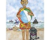 Barack and Bo at the Beach political print