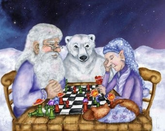 Old Man Winter and Jack Frost Play a Friendly Game of Chess Print
