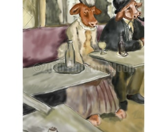 Buy a Cow a Glass of Wine Print