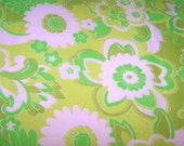SALE Vintage Green Floral Japanese Fabric - One Yard Left