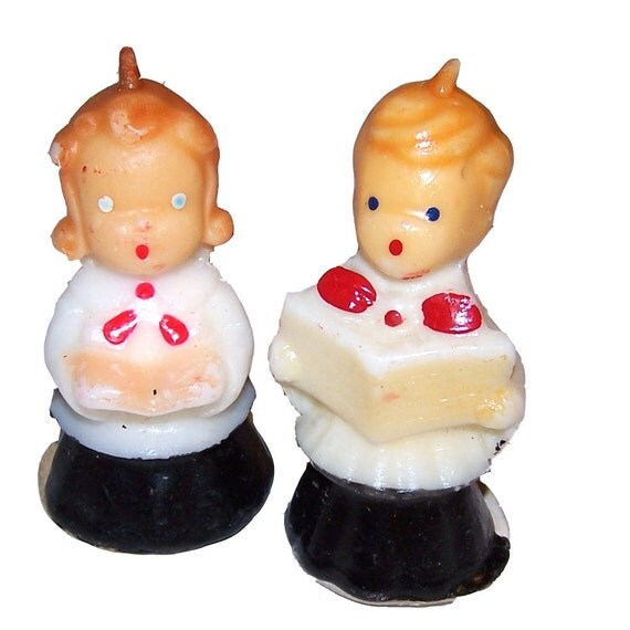 Singing Carolers Candleholders Figurines Vintage By: Small Vintage Christmas Carolers Candles Set Of 2 By