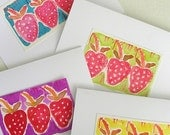 Hand Printed Strawberry Cards (set of 8)