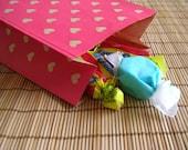 Paper Gift Bag--Pink\/Kraft (set of 10)