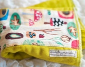 Woodland toadstools on chartreuse hand dyed burp cloth